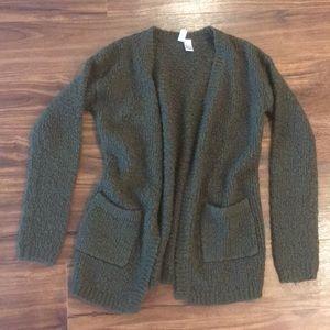 Olive Green Knit Cardigan